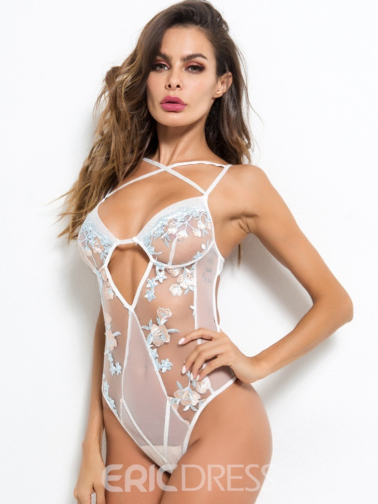 Ericdress Embroidery Backless Back Closure Sexy Teddy Bodysuit
