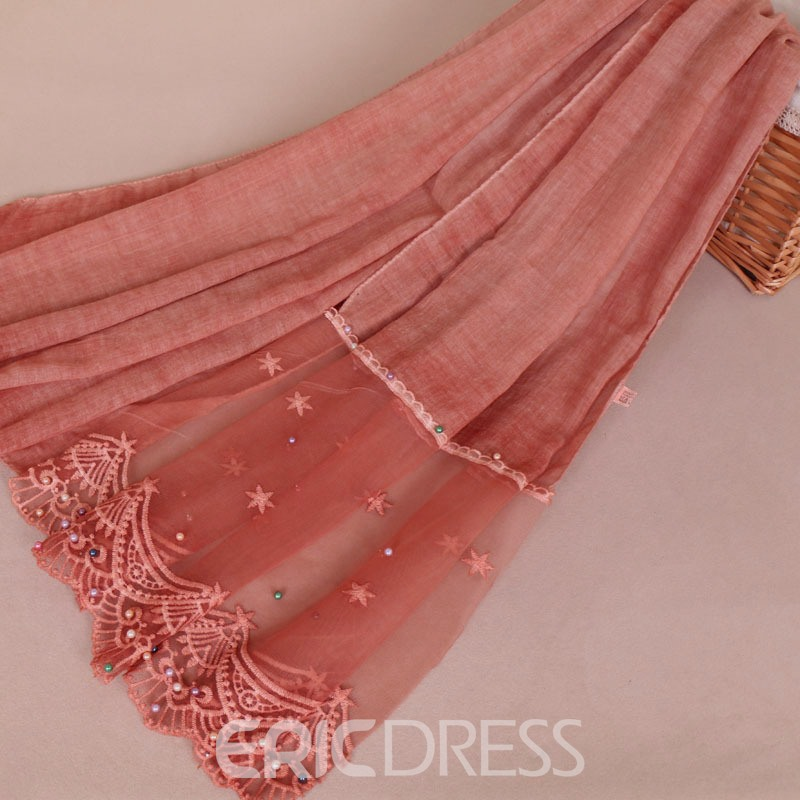 Ericdress Cottonfabric Lace Star Embroider Pearl Scarf for Women