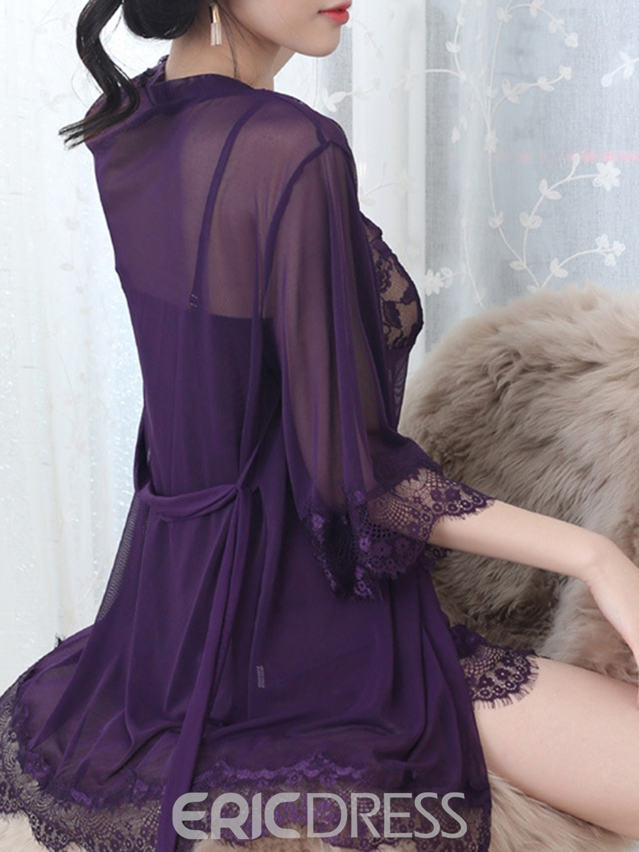 Eridress Sexy 3pcs Lingerie Robe Sheer Kimono Night Gown with G-string