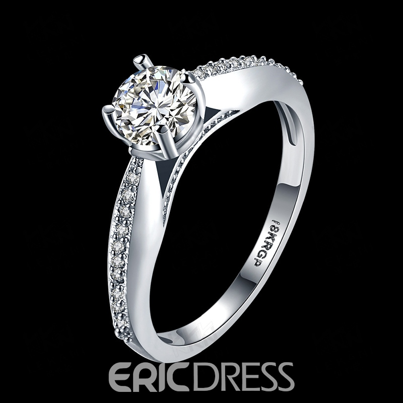 Ericdress Fashion Diamante Classical Four Claws Ring For Women