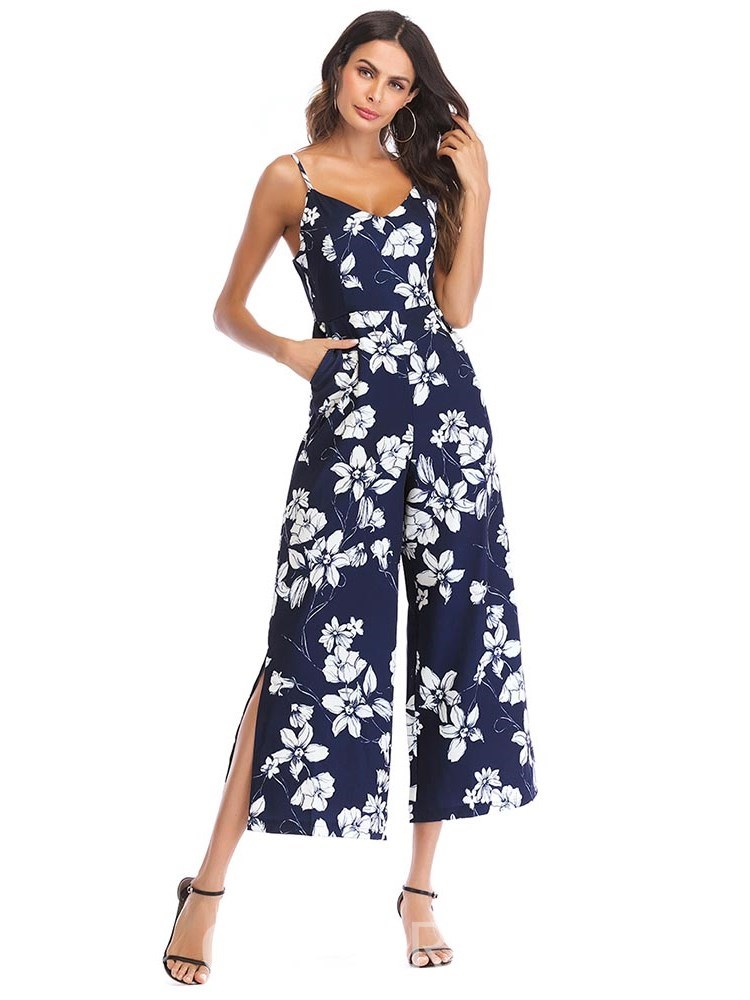 Ericdress Floral Print Wide Legs Women's Jumpsuits