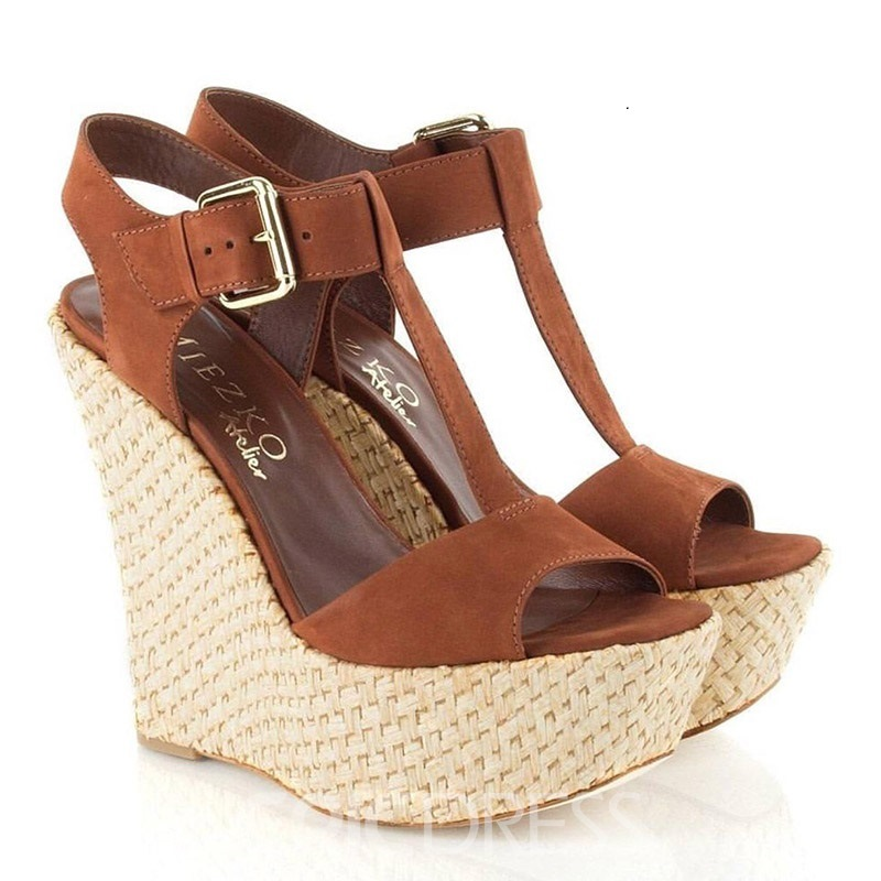 Ericdress Platform T-Shaped Buckle Strappy Wedge Sandals