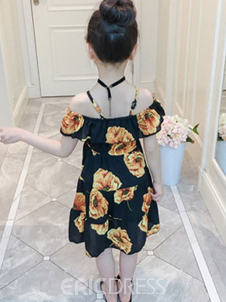 Ericdress Floral Printed Spaghetti Strap A-Line Girl's Casual Dress