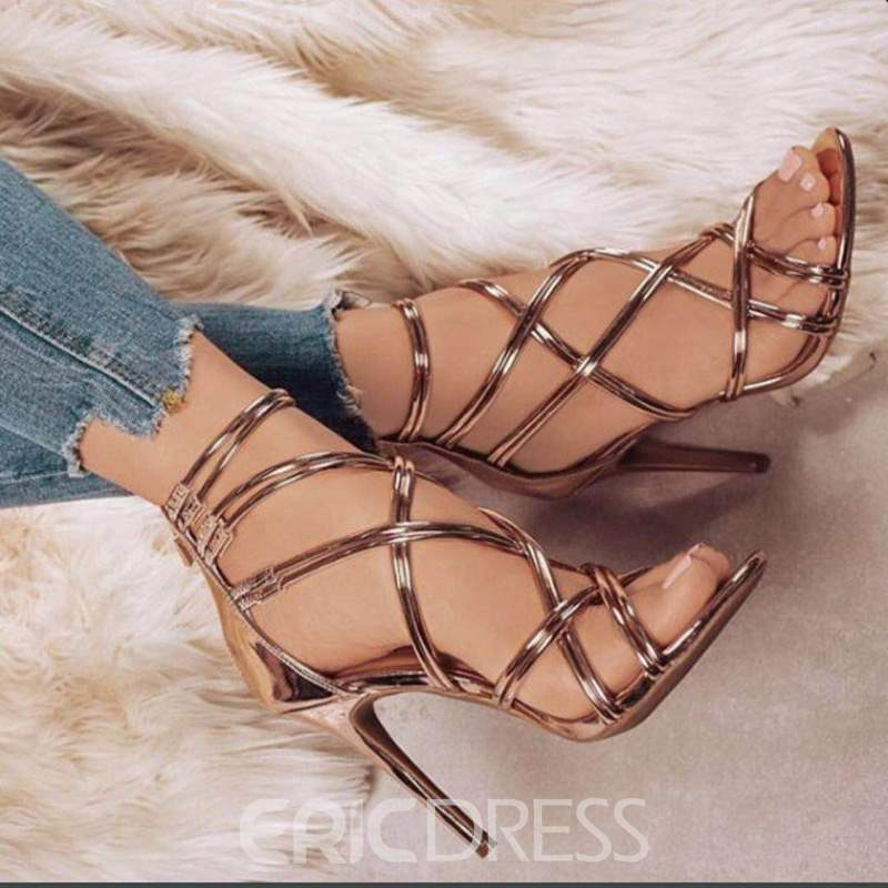 Ericdress Hollow Zipper Mid-Cut Stiletto Sandals