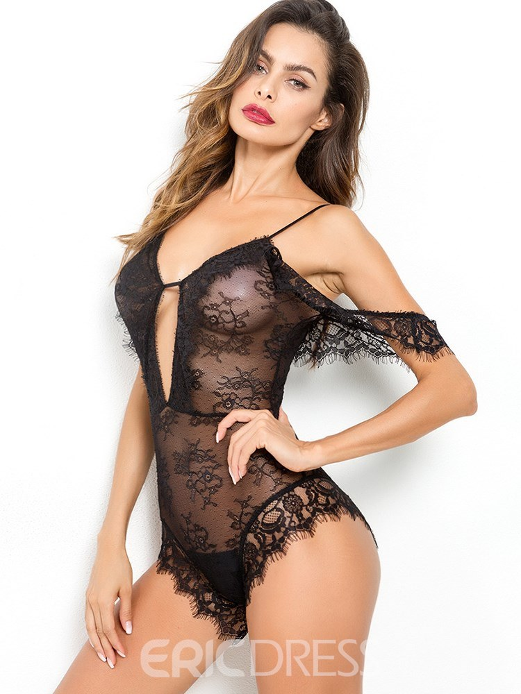 Ericdress Off-Shoulder Eyelash Floral Sexy Teddy Bodysuit