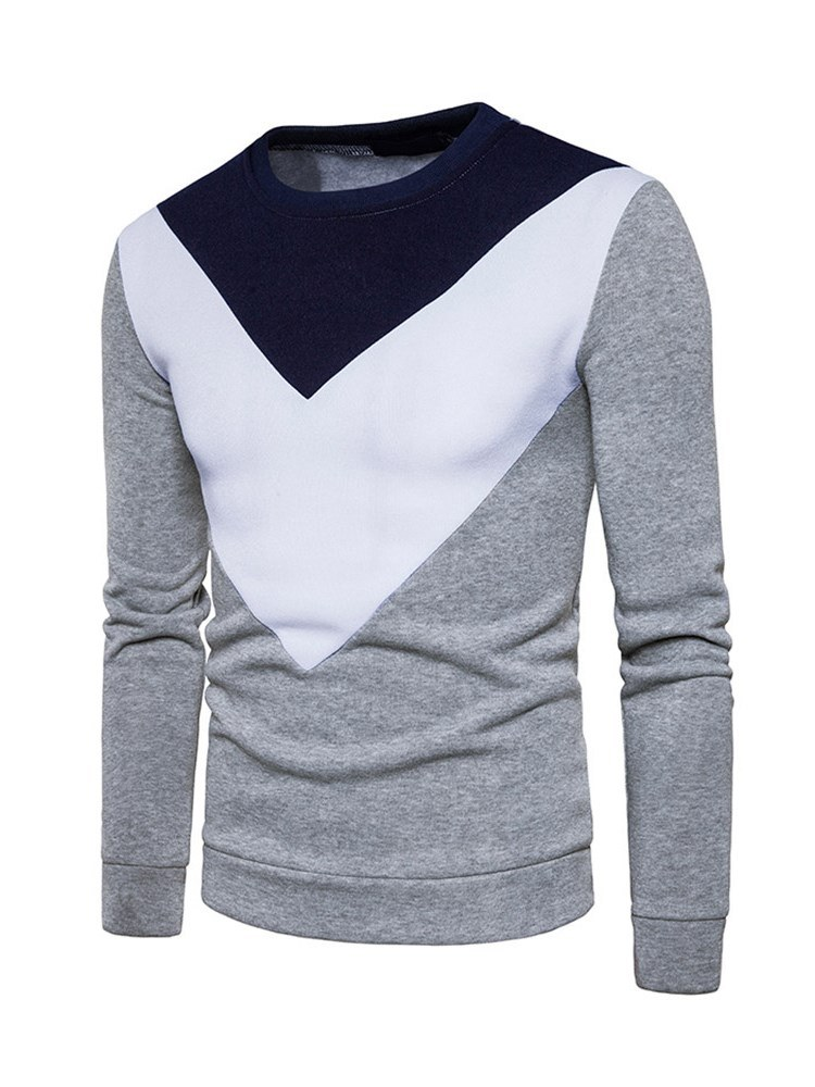 Ericdress Patchwork Color Block Pullover Mens Slim Sweatshirts