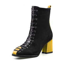 Ericdress Color Block Round Toe Chunky Heel Women's Ankle Boots