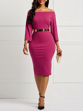 Ericdress Pullover Slash Neck Bodycon Women's Dress