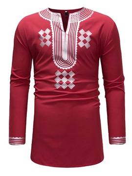 ericdress dashiki v-neck geometrische drucken herren casual t shirts