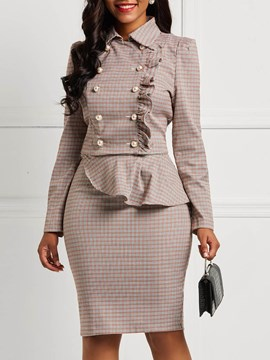 Ericdress Ruffles Plaid Office Lady Women's Formal Suit