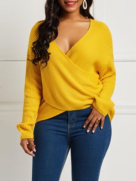 Ericdress V-Neck Loose Pullover Long Sleeves Knitwear