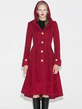 Ericdress Plain Long Tunic Long Single-Breasted Coat