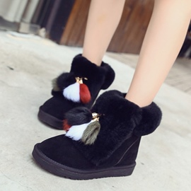 Ericdress Pompon Round Toe Slip-On Women's Snow Boots