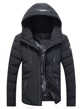 Ericdress Plain Hooded Zipper Mens Casual Down Coats