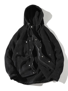 Ericdress Plain Pocket Hooded Thick Mens Casual Corduroy Winter Coats
