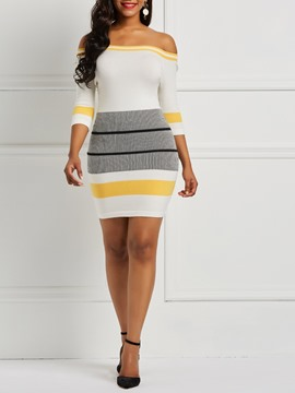 Ericdress Stripe Half Sleeves Slash Neck Knit Women's Dress