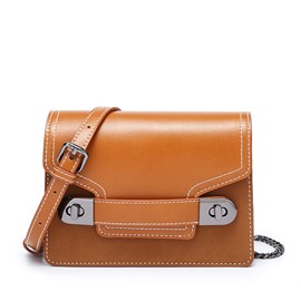 Ericdress Lock PU Flap Crossbody Bags