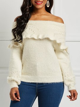 Ericdress Slash Neck Pullover Plain Long Sleeves Knitwear