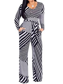 Ericdress Striped Pocket Color Block Full Length Skinny Jumpsuits
