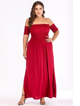 Ericdress Plus Size Pleated Short Sleeve Off Shoulder England Pullover Dress