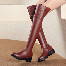 Ericdress Plain Side Zipper Block Heel Over The Knee Boots