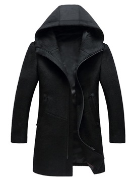 Ericdress Plain Hooded Zipper Mid-Length Mens Winter Coats