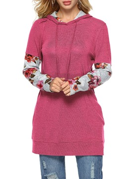 Ericdress Floral Loose Print Fleece Cool Hoodie
