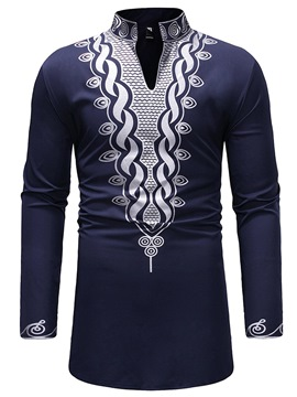 Ericdress Dashiki Stand Collar Geometric Print Mens Casual T Shirts
