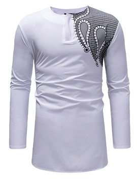 ericdress scoop imprimé géométrique mens casual t shirts