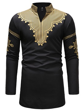 Ericdress Dashiki Stand Collar V-Neck Mens Casual T Shirts