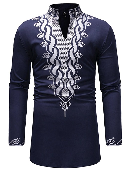 Ericdress African Fashion Dashiki Geometric Print Mens Casual T Shirts