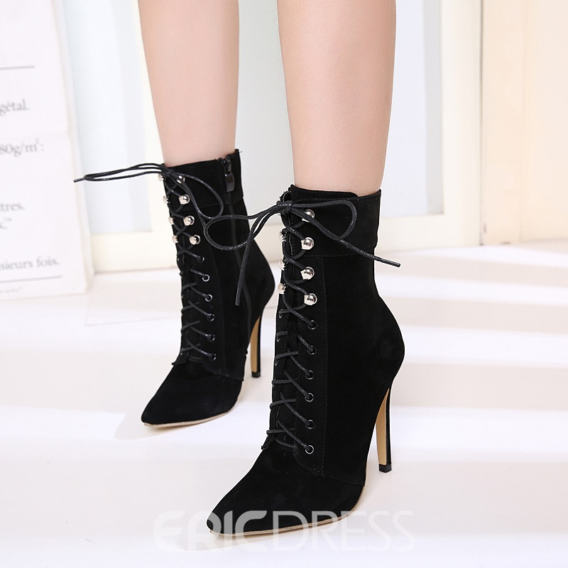 Ericdress Faux Suede Pointed Toe Stiletto Heel Women's Ankle Boots