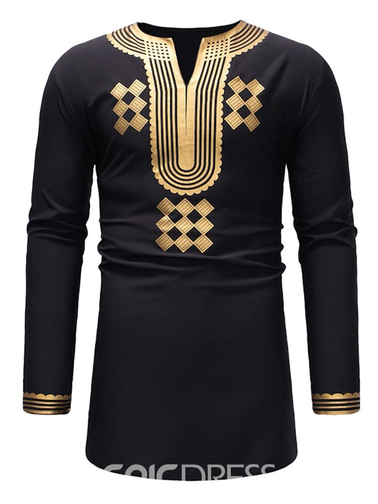 Ericdress African Fashion Dashiki V-Neck Geometric Print Mens Casual T Shirts