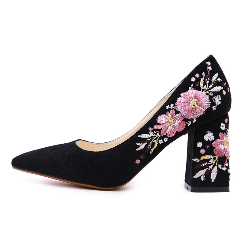 Ericdress Embroidery Floral Chunky Heel Women's Pumps