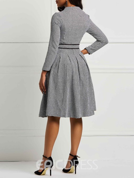 Ericdress A-Line Long Sleeves Single-Breasted Women's Dress
