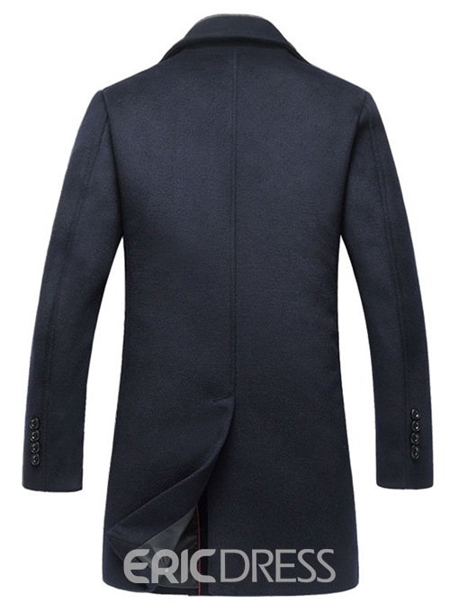 Ericdress Plain Slim Mid-Length Lapel Mens Casual Wool Coats