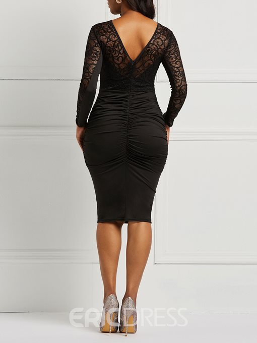 Ericdress Long Sleeves Lace Backless Black Women's Dress
