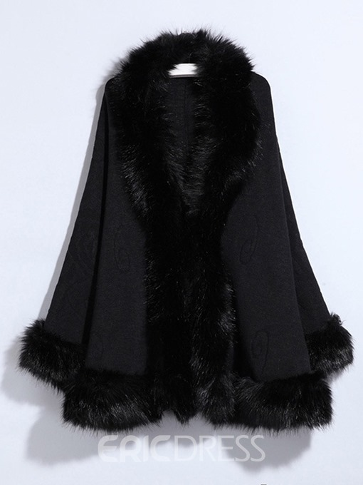 Ericdress Plain Thick Fur Collar Elegant Patchwork Coat