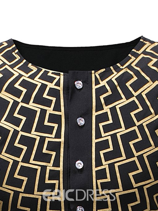 Ericdress Geometric Print Scoop Button Mens T Shirts