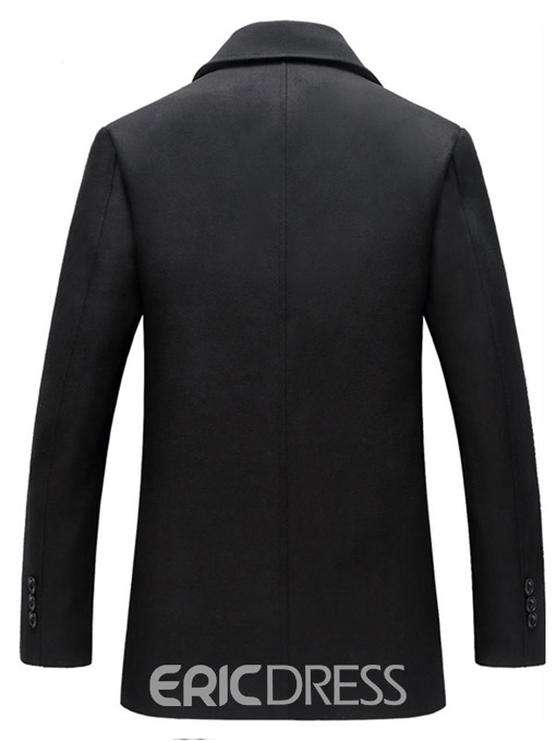 Ericdress Plain Lapel Double Breasted Slim Mens Casual Wool Coats