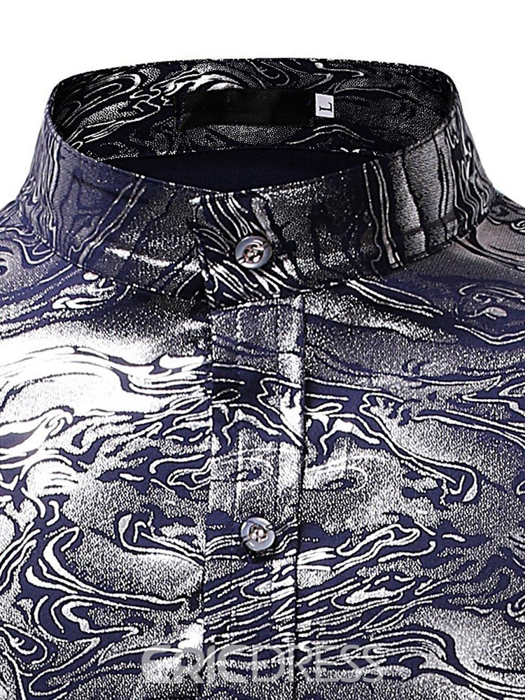 Ericdress Stand Collar Geometric Print Mens Casual Ball Shirts