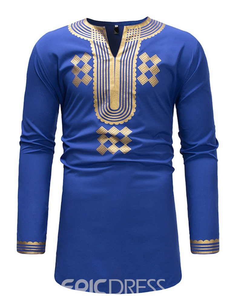 Ericdress Dashiki V-Neck Geometric Print Mens Casual T Shirts