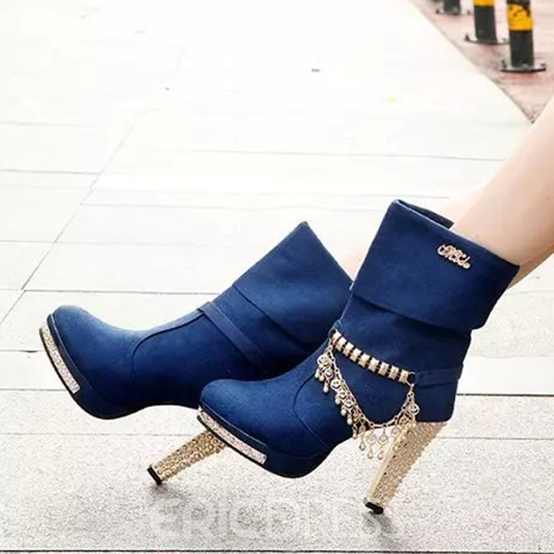 Ericdress Chain Sequin Round Toe Chunky Heel Slip-On Women's Ankle Boots