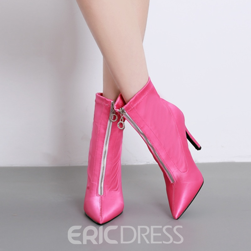 Ericdress Plain Pointed Front Zipper Toe Stiletto Heel Women's Boots