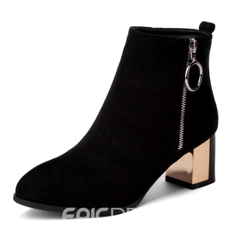 Ericdress Plain Pointed Toe Side Zipper Women's Boots