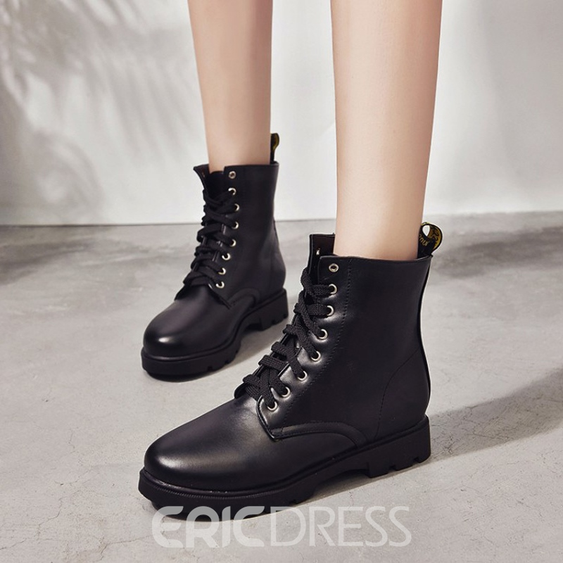 Ericdress Plain Lace-Up Women's Martin Boots
