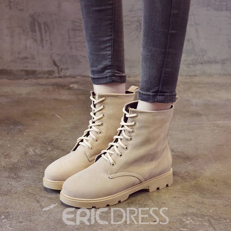 Ericdress Plain Round Toe Lace-Up Women's Martin Boots