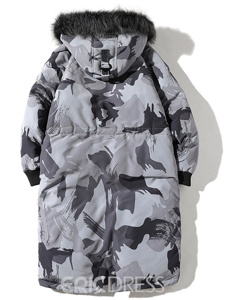 Ericdress Camouflage Hooded Zipper Thick Mens Casual Winter Jacket