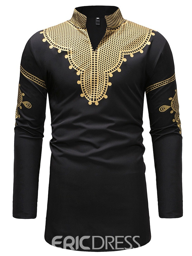 ericdress dashiki col montant v-cou mens casual t-shirts