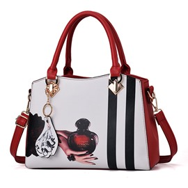 Ericdress PU Color Block Barrel-Shaped Tote Bag